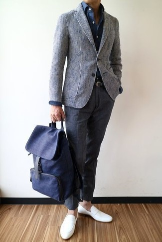 How to wear: grey tweed blazer, navy dress shirt, charcoal wool dress pants, white leather loafers