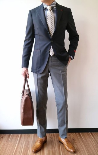 How to wear: black blazer, white and navy vertical striped dress shirt, grey dress pants, mustard leather loafers