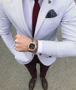 How to wear: white polka dot blazer, white dress shirt, burgundy dress pants, dark brown leather loafers