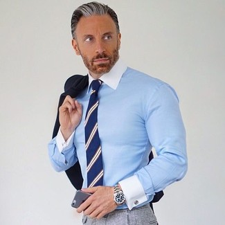 How to wear: black blazer, light blue dress shirt, grey check dress pants, navy vertical striped tie