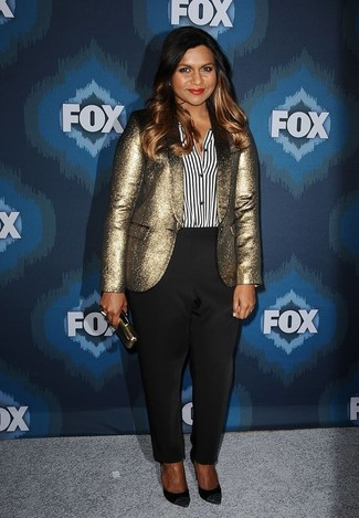 How to Wear a Gold Clutch: If you're a jeans-and-a-tee kind of dresser, you'll like the basic combo of a gold blazer and a gold clutch. Why not take a more refined approach with shoes and complete your getup with a pair of black embellished suede pumps?