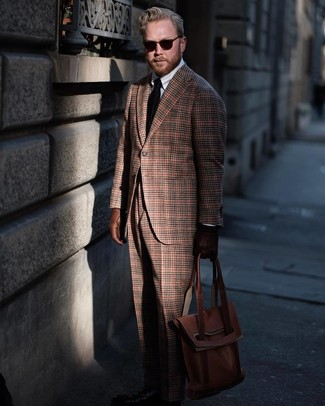 How to wear: brown plaid wool blazer, white dress shirt, brown plaid wool dress pants, brown leather tote bag