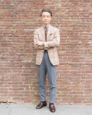How to wear: beige check wool blazer, white and black vertical striped dress shirt, grey wool dress pants, dark brown leather tassel loafers
