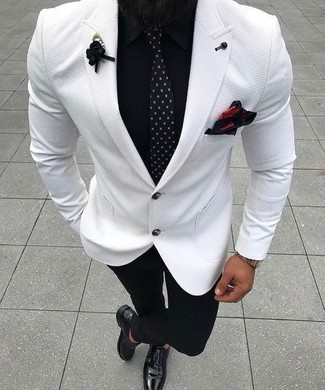 How to wear: white blazer, black dress shirt, black dress pants, black leather double monks