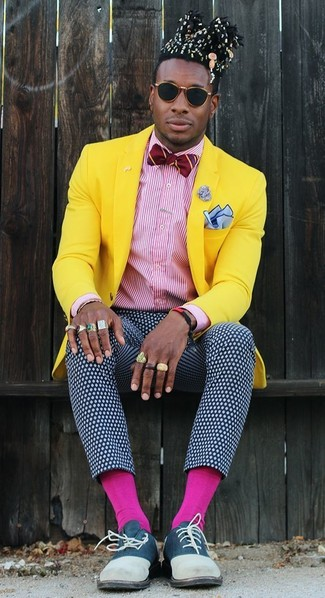 How to wear: yellow blazer, white and red vertical striped dress shirt, navy and white polka dot dress pants, navy suede oxford shoes