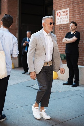 How to wear: grey blazer, white dress shirt, black dress pants, white leather low top sneakers