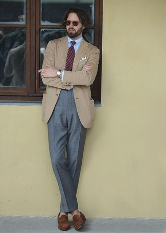 How to wear: tan blazer, light blue dress shirt, grey dress pants, brown suede loafers