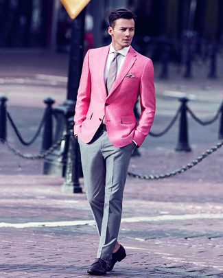 How to wear: hot pink blazer, white dress shirt, grey dress pants, burgundy leather derby shoes