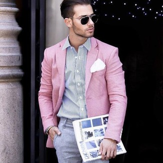 How to wear: pink blazer, white and navy vertical striped dress shirt, grey dress pants, white pocket square