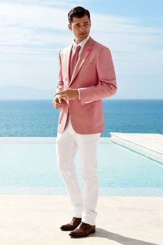 How to wear: pink blazer, white dress shirt, white dress pants, brown leather oxford shoes