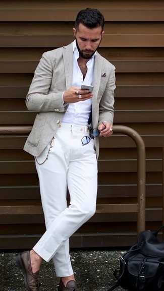 How to wear: beige blazer, white dress shirt, white dress pants, dark brown leather tassel loafers