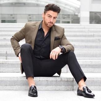 How to wear: brown blazer, black silk dress shirt, black dress pants, black leather tassel loafers