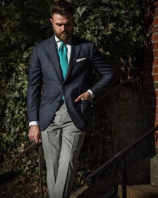 How to wear: navy blazer, white dress shirt, grey plaid dress pants, green print tie