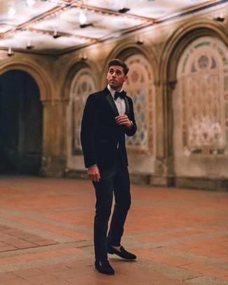 How to wear: black velvet blazer, white dress shirt, navy dress pants, black velvet loafers