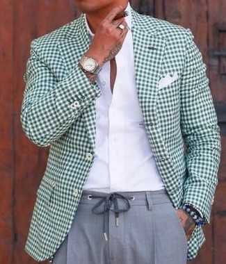 How to wear: green gingham blazer, white dress shirt, grey dress pants, white pocket square