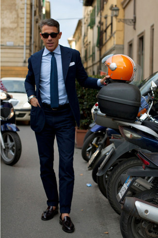 How to wear: navy blazer, blue dress shirt, navy dress pants, black leather tassel loafers