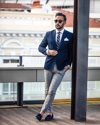 How to wear: navy blazer, white dress shirt, grey dress pants, navy suede loafers