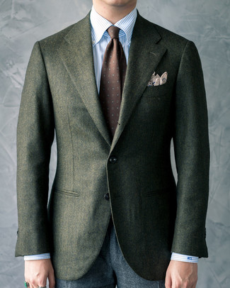 How to wear: dark green wool blazer, light blue vertical striped dress shirt, charcoal wool dress pants, dark brown print tie