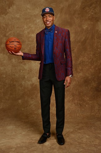 How to wear: burgundy blazer, blue dress shirt, black dress pants, black leather loafers