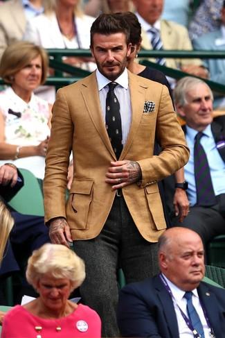 How to wear: tan blazer, white and blue vertical striped dress shirt, charcoal herringbone wool dress pants, black print tie
