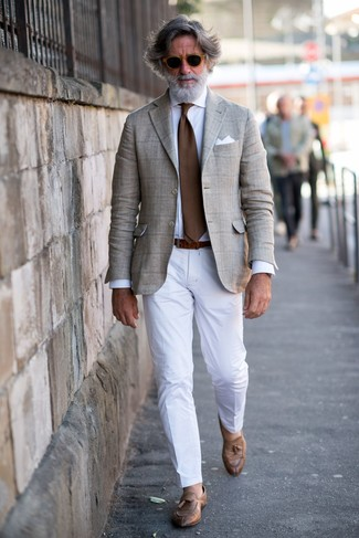 How to wear: beige plaid blazer, white dress shirt, white dress pants, brown leather tassel loafers