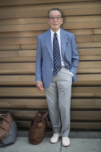 How to wear: blue blazer, white dress shirt, grey dress pants, white low top sneakers