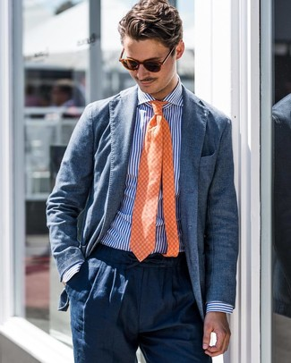 How to wear: blue blazer, white and blue vertical striped dress shirt, navy linen dress pants, orange check tie