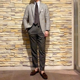 How to wear: white gingham blazer, white dress shirt, dark brown dress pants, dark brown suede tassel loafers