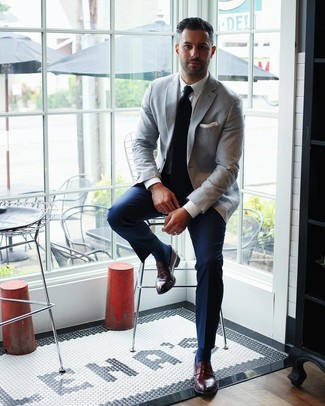 How to wear: grey blazer, white dress shirt, navy dress pants, burgundy leather loafers
