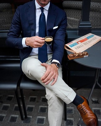 How to wear: navy blazer, white dress shirt, beige dress pants, brown leather oxford shoes