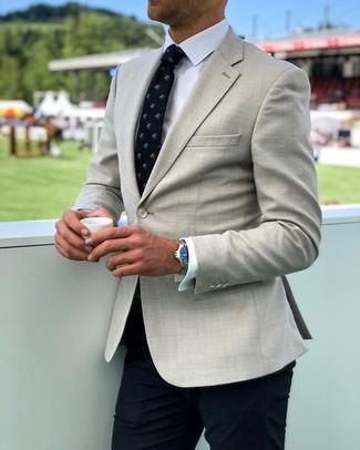 How to wear: beige blazer, white dress shirt, navy dress pants, navy print tie