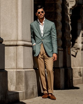 How to wear: teal blazer, white dress shirt, khaki dress pants, tobacco suede loafers