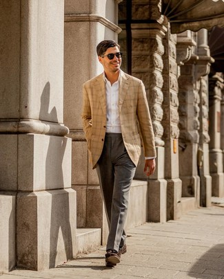 How to wear: tan plaid blazer, white dress shirt, grey dress pants, dark brown suede tassel loafers