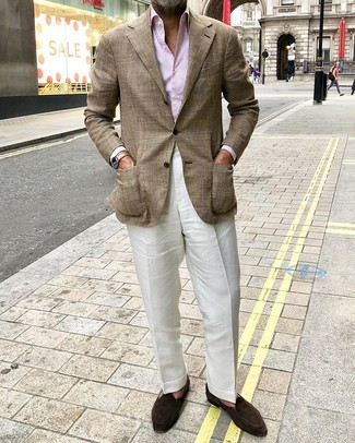 How to Wear a Pink Vertical Striped Dress Shirt For Men: Dress in a pink vertical striped dress shirt and white linen dress pants for a truly classic getup. Consider dark brown suede loafers as the glue that will bring your getup together.