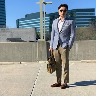 How to wear: light blue blazer, white dress shirt, khaki dress pants, brown suede tassel loafers