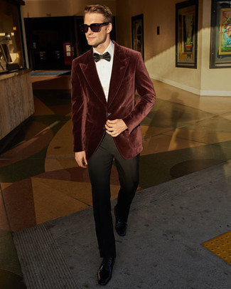 How to wear: burgundy velvet blazer, white dress shirt, black dress pants, black leather derby shoes