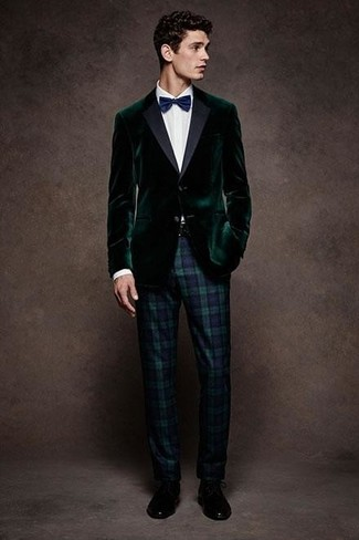 How to wear: dark green velvet blazer, white dress shirt, navy and green plaid dress pants, black leather derby shoes