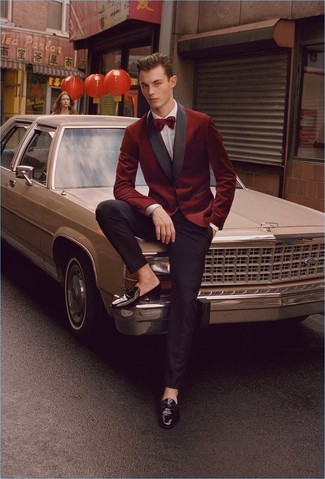 How to Wear Black Leather Tassel Loafers: This outfit shows that it is totally worth investing in such smart menswear items as a burgundy velvet blazer and black dress pants. A pair of black leather tassel loafers looks perfectly at home here.