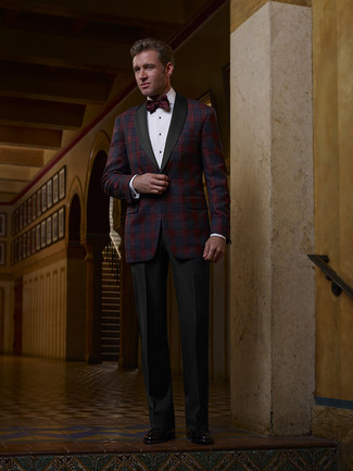 How to Wear a Burgundy Bow-tie For Men: Reach for a red and navy plaid blazer and a burgundy bow-tie if you seek to look cool and casual without making too much effort. For a more polished touch, why not complement this look with a pair of black leather loafers?
