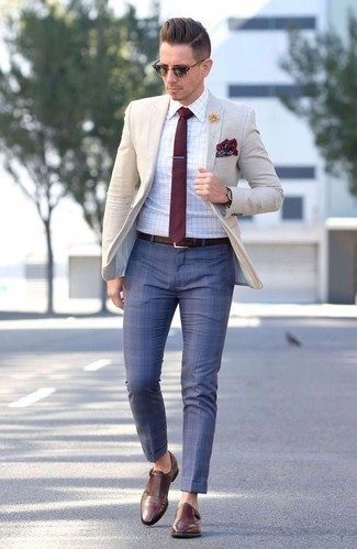 Fashion for 30 Year Old Men: What To Wear: Pair a beige blazer with blue check dress pants to look like a complete gent. If you're wondering how to finish, a pair of brown leather double monks is a savvy pick.