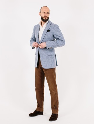 Men's Looks & Outfits: What To Wear In a Dressy Way: We love how this combo of a light blue tweed blazer and brown corduroy dress pants immediately makes any guy look sharp and classy. Look at how great this getup goes with a pair of dark brown suede derby shoes.