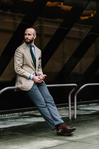 Men's Looks & Outfits: What To Wear In a Dressy Way: You can be sure you'll look handsome and smart in a beige herringbone blazer and grey wool dress pants. Let your expert styling really shine by rounding off this outfit with burgundy leather brogues.