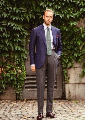 How to Wear Brown Wool Dress Pants For Men: This look clearly shows it is totally worth investing in such smart menswear pieces as a navy blazer and brown wool dress pants. A pair of burgundy leather tassel loafers will be a stylish companion to your look.