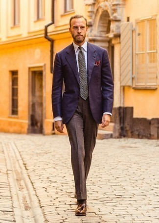How to Wear Brown Wool Dress Pants For Men: You're looking at the solid proof that a navy blazer and brown wool dress pants look awesome when matched together in a classy ensemble for today's man. Brown leather tassel loafers complete this look quite nicely.