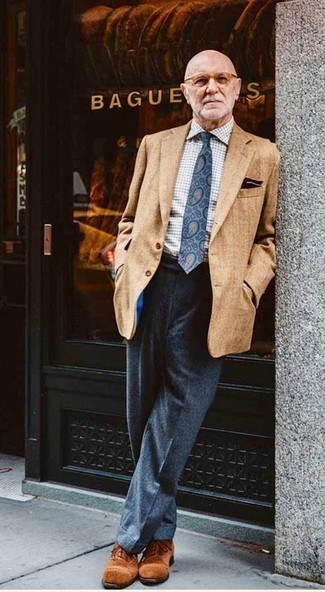 Fashion for Men Over 60: What To Wear: A tan blazer looks so sophisticated when paired with charcoal wool dress pants in a modern man's getup. Look at how nice this look is finished off with tobacco suede oxford shoes. A look like this can make any over-60 man look better than everyone else in the room.