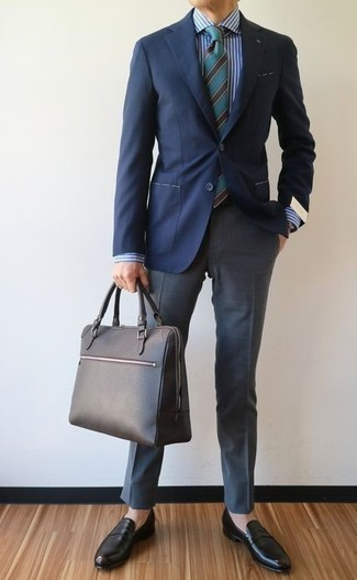 How to Wear a Black Pocket Square: Team a navy blazer with a black pocket square if you're looking for a look idea that speaks casual street style style. Rounding off with a pair of black leather loafers is an effortless way to infuse a hint of polish into this ensemble.