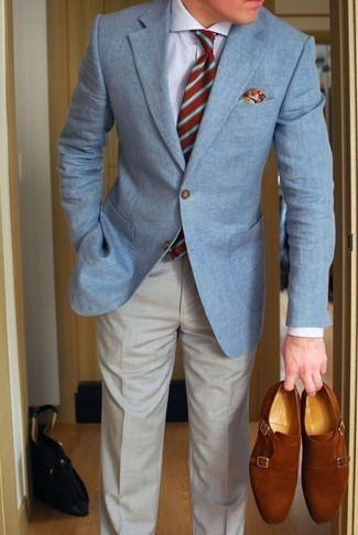 How to Wear a Red Horizontal Striped Tie For Men: Combining a light blue blazer and a red horizontal striped tie is a guaranteed way to inject refinement into your closet. A pair of tobacco suede double monks is a great choice to finish off your outfit.