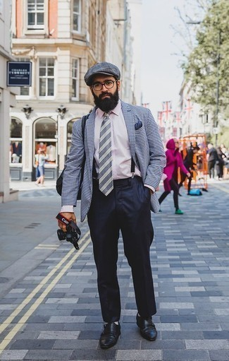 How to Wear Suspenders: If you prefer urban combos, then you'll love this pairing of a white and navy houndstooth blazer and suspenders. Black leather double monks are guaranteed to infuse an extra dose of style into this look.