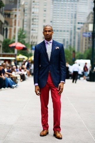 How to Wear Tobacco Leather Oxford Shoes: Team a navy plaid blazer with red dress pants for a proper classy ensemble. Go ahead and complete this ensemble with tobacco leather oxford shoes for an added dose of style.