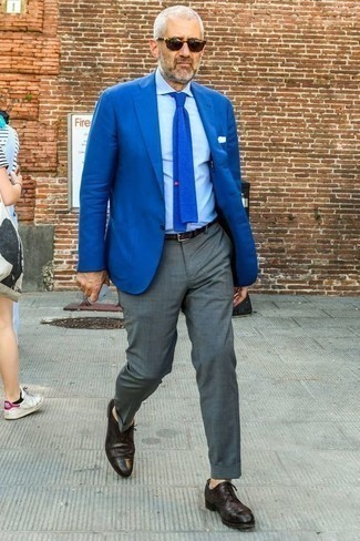 Blue Blazer with Grey Pants Outfits For Men After 50: Make a blue blazer and grey pants your outfit choice to look like a British gent. Exhibit your refined side by finishing off with a pair of dark purple leather brogues. This combination shows that reaching age 50 is no reason for your sartorial standards to drop.